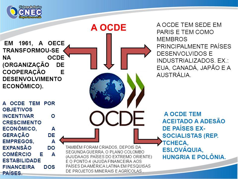 A OCDE A OCDE TEM SEDE EM PARIS E TEM COMO MEMBROS PRINCIPALMENTE PAÍSES DESENVOLVIDOS E INDUSTRIALIZADOS. EX.: EUA, CANADÁ, JAPÃO E A AUSTRÁLIA.