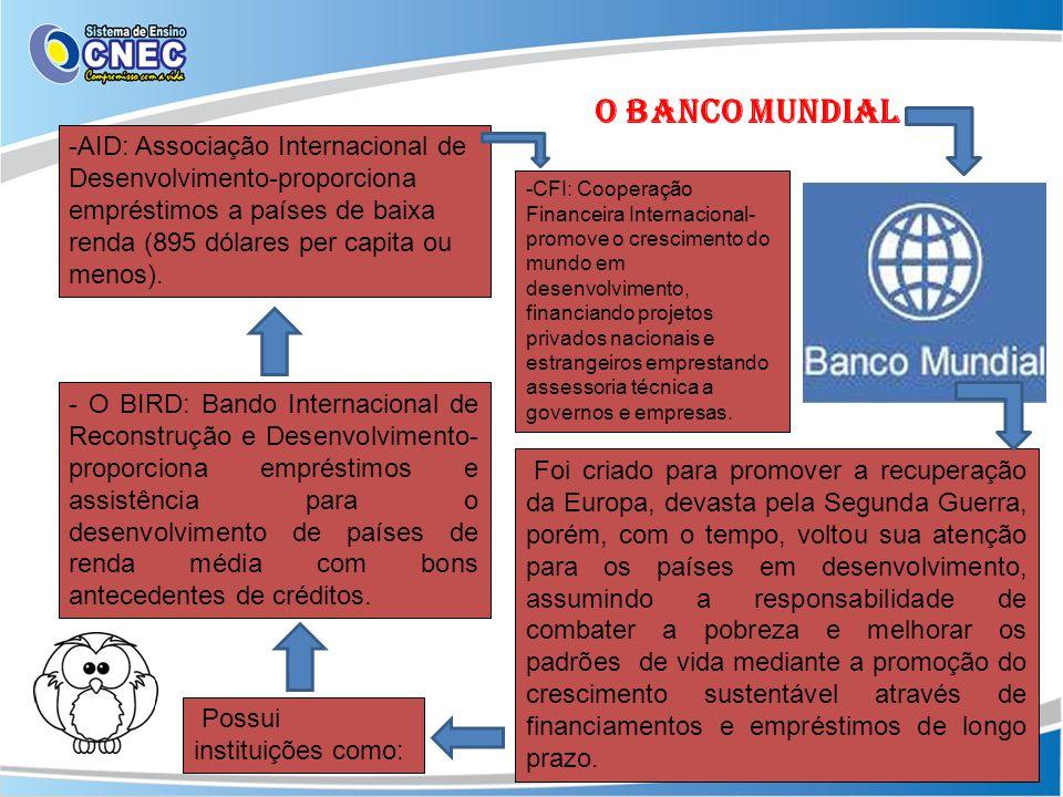 O BANCO MUNDIAL-AID: Associação Internacional de Desenvolvimento-proporciona empréstimos a países de baixa renda (895 dólares per capita ou menos).