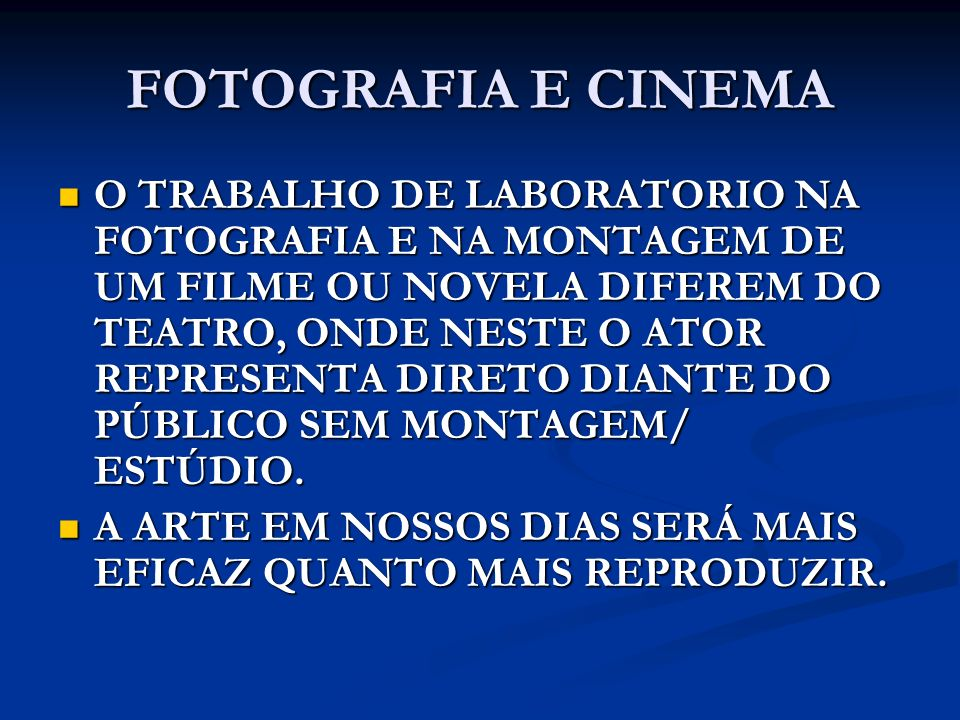 FOTOGRAFIA E CINEMA