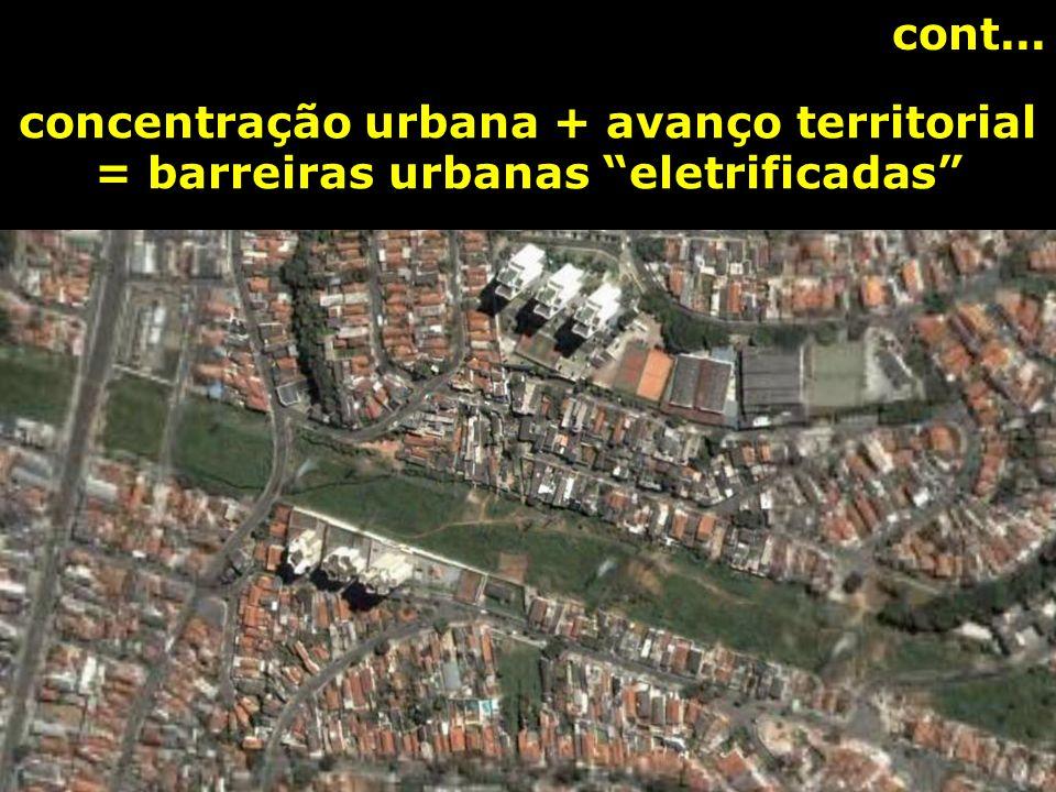 cont... concentração urbana + avanço territorial = barreiras urbanas eletrificadas