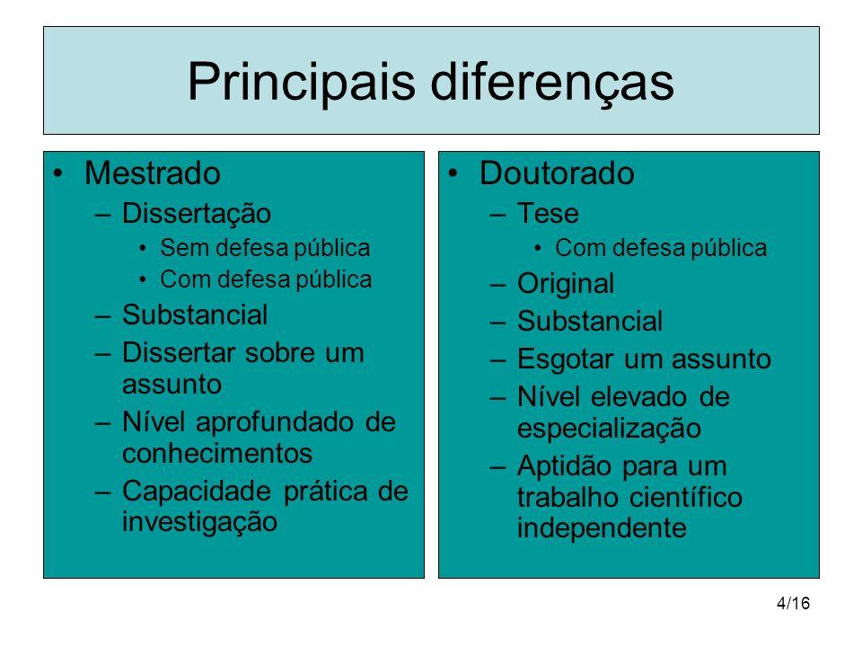 Principais diferenças