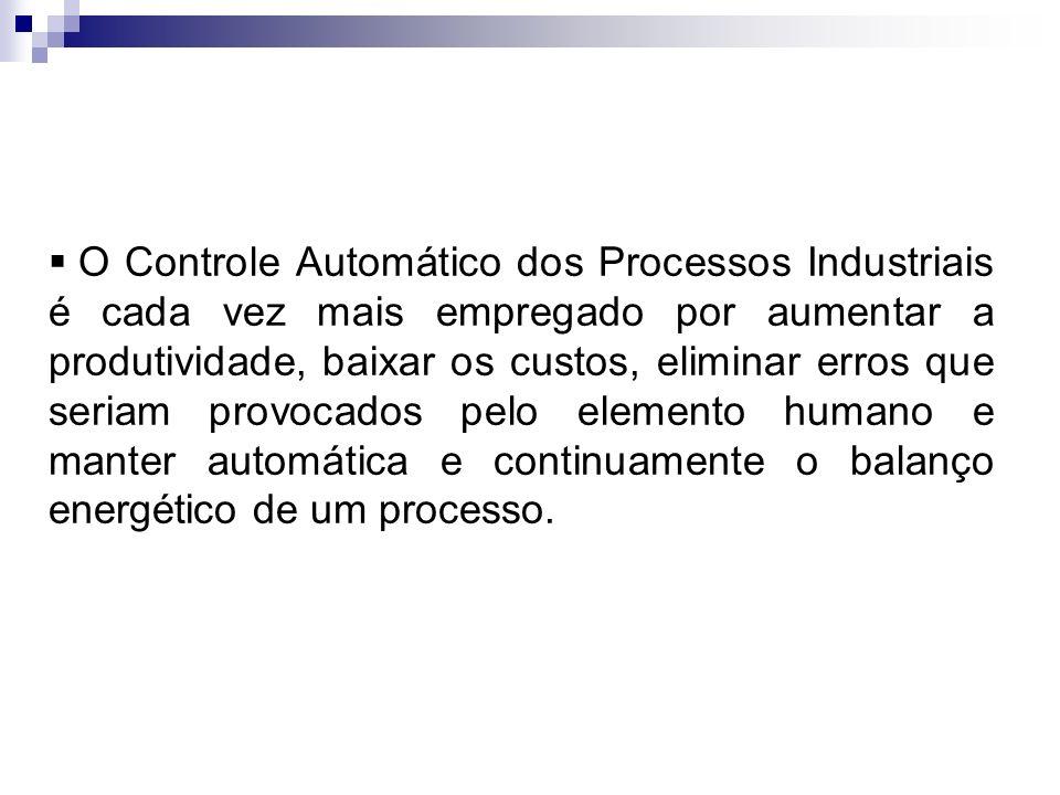 O Controle Automático dos Processos Industriais é cada vez mais empregado por aumentar a produtividade, baixar os custos, eliminar erros que seriam provocados pelo elemento humano e manter automática e continuamente o balanço energético de um processo.