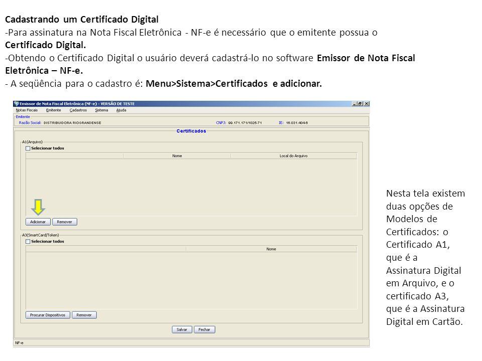 Cadastrando um Certificado Digital