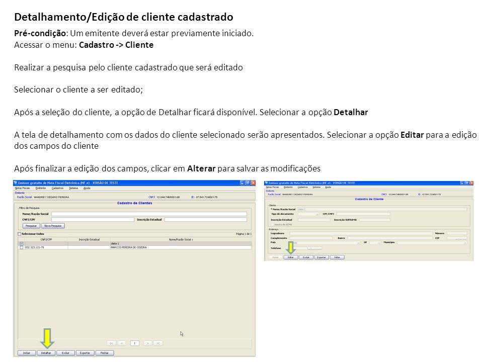 Detalhamento/Edição de cliente cadastrado