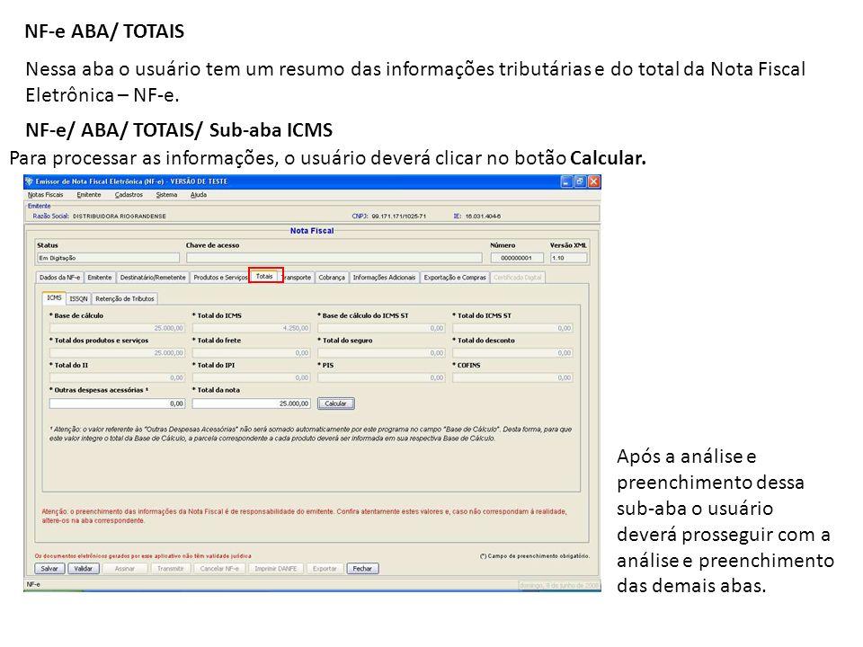 NF-e/ ABA/ TOTAIS/ Sub-aba ICMS