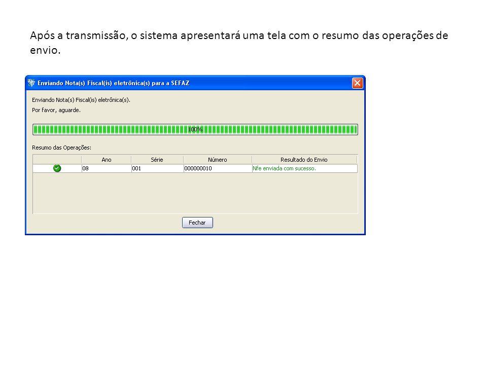 Após a transmissão, o sistema apresentará uma tela com o resumo das operações de