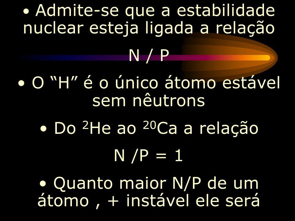 O H é o único átomo estável sem nêutrons Do 2He ao 20Ca a relação