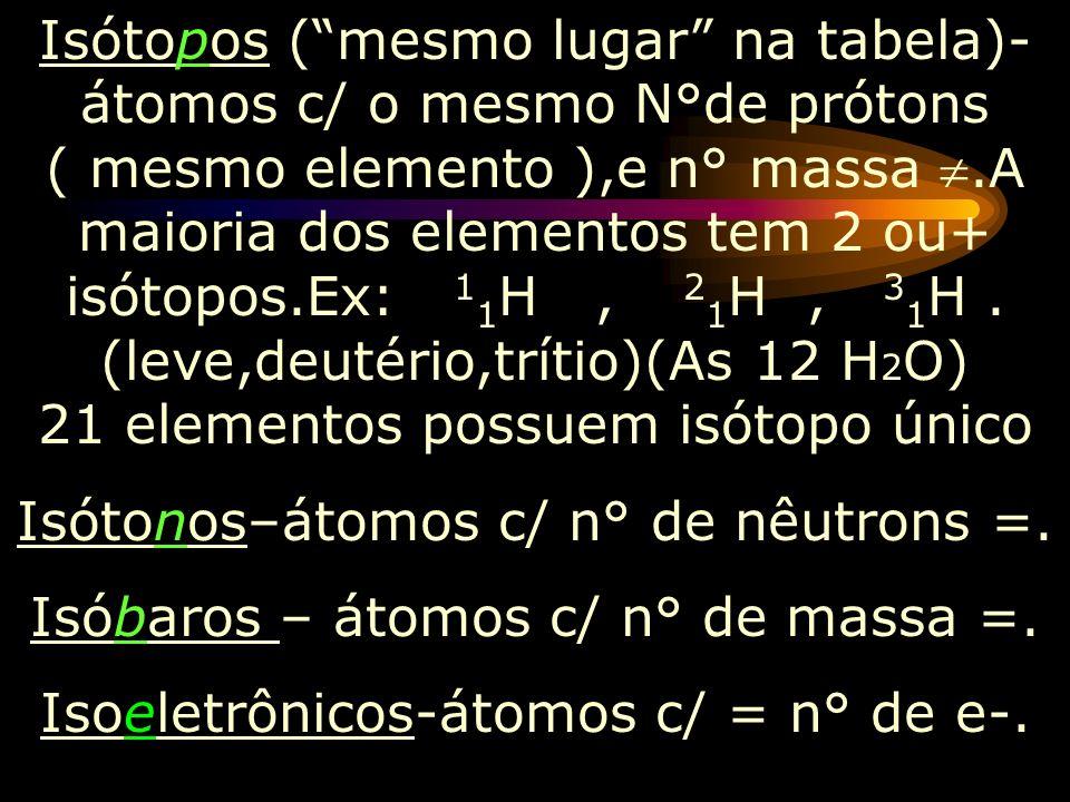 Isótonos–átomos c/ n° de nêutrons =.