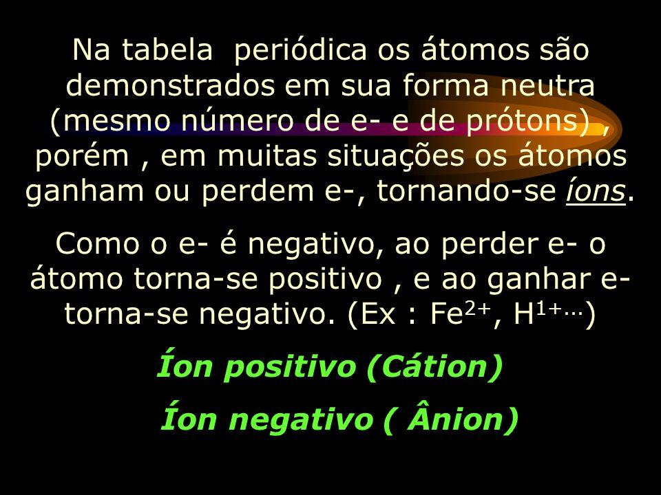 Na tabela periódica os átomos são demonstrados em sua forma neutra (mesmo número de e- e de prótons) , porém , em muitas situações os átomos ganham ou perdem e-, tornando-se íons.