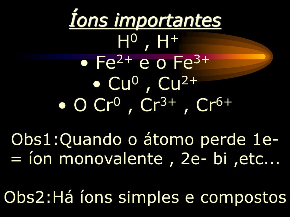 Íons importantes H0 , H+ Fe2+ e o Fe3+ Cu0 , Cu2+ O Cr0 , Cr3+ , Cr6+