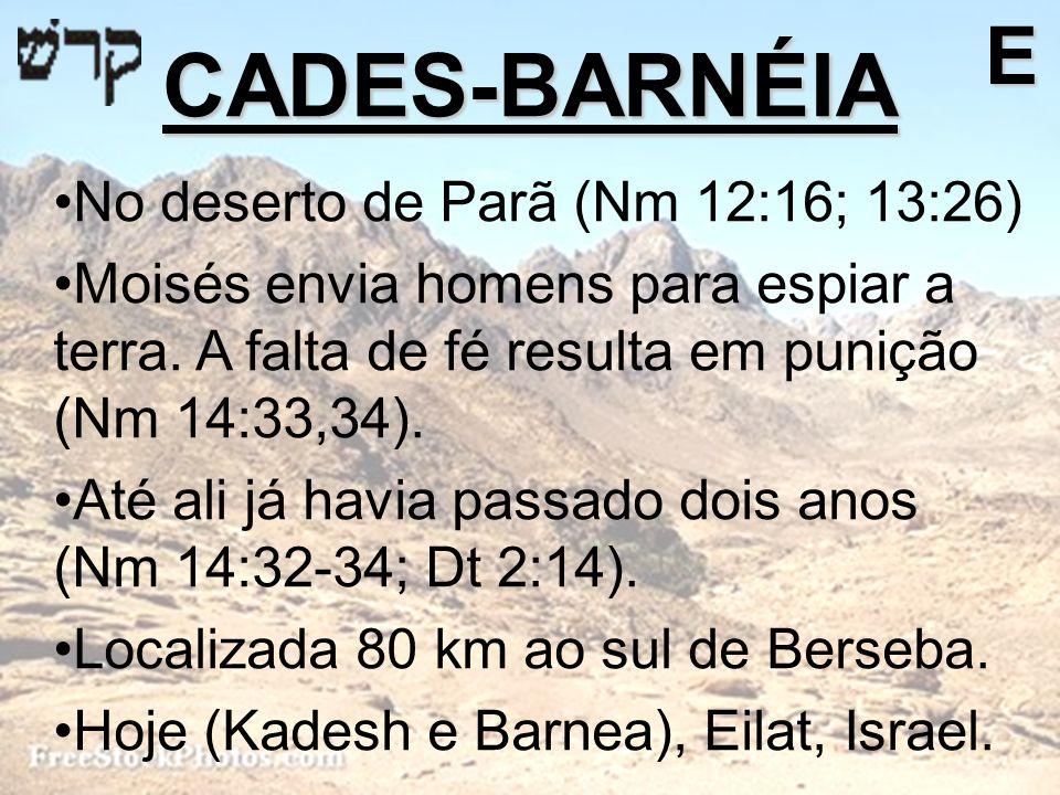 CADES-BARNÉIA E No deserto de Parã (Nm 12:16; 13:26)
