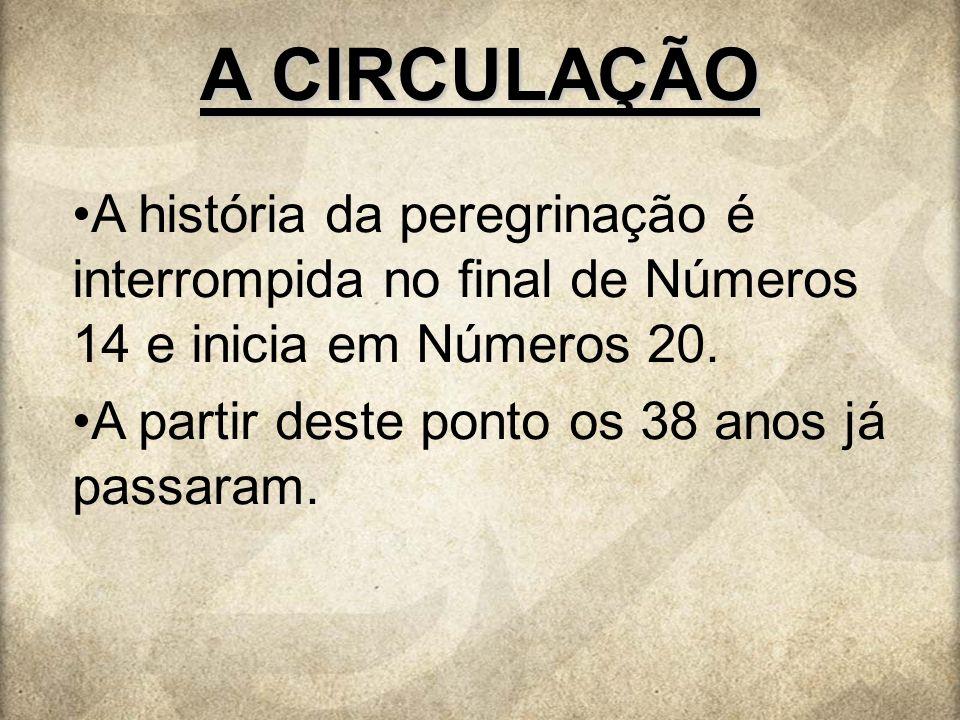 A CIRCULAÇÃO A história da peregrinação é interrompida no final de Números 14 e inicia em Números 20.