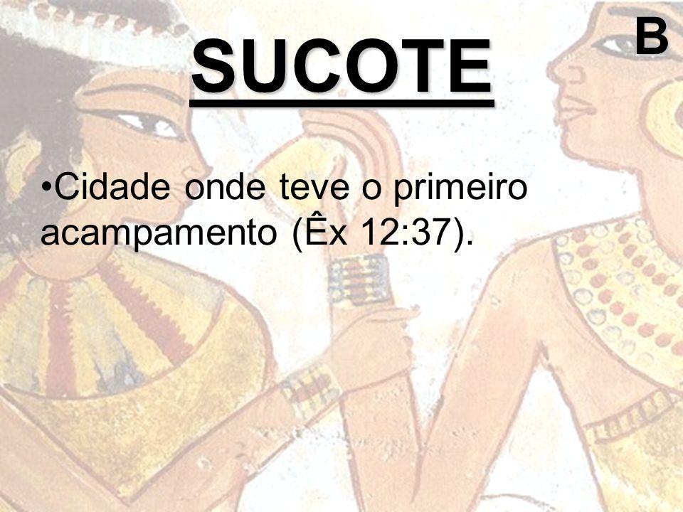 B SUCOTE Cidade onde teve o primeiro acampamento (Êx 12:37).