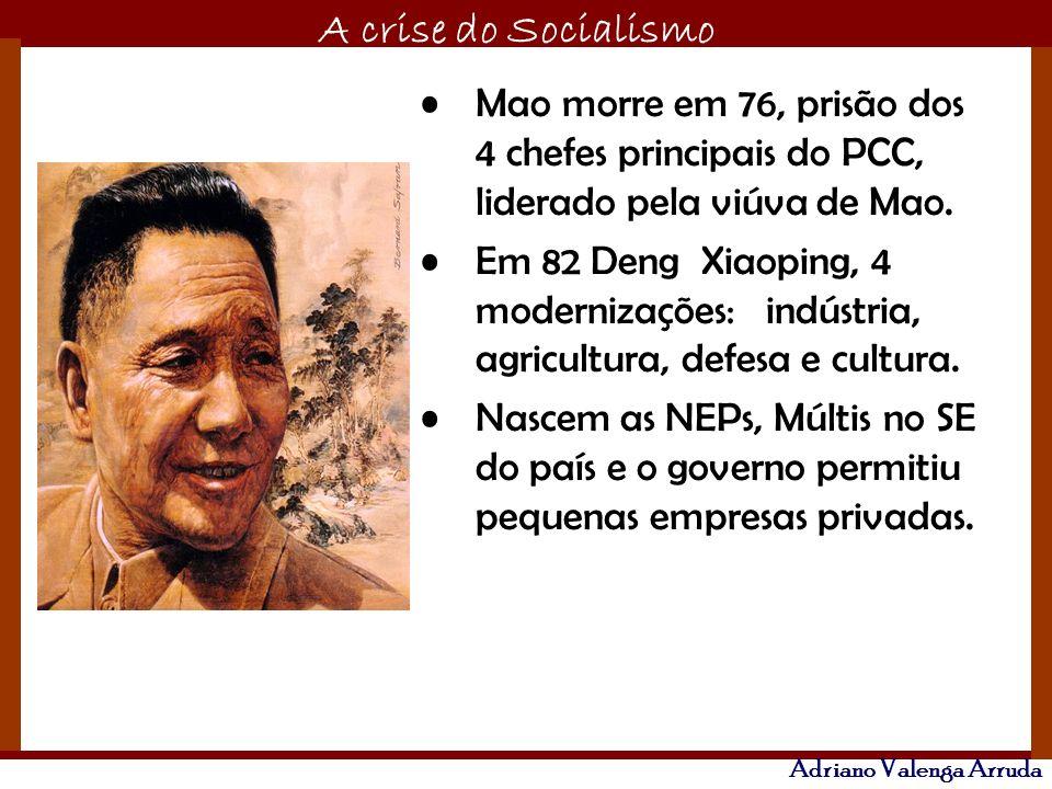 Mao morre em 76, prisão dos 4 chefes principais do PCC, liderado pela viúva de Mao.