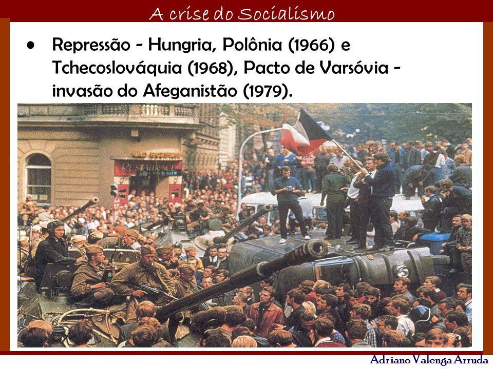 Repressão - Hungria, Polônia (1966) e Tchecoslováquia (1968), Pacto de Varsóvia - invasão do Afeganistão (1979).