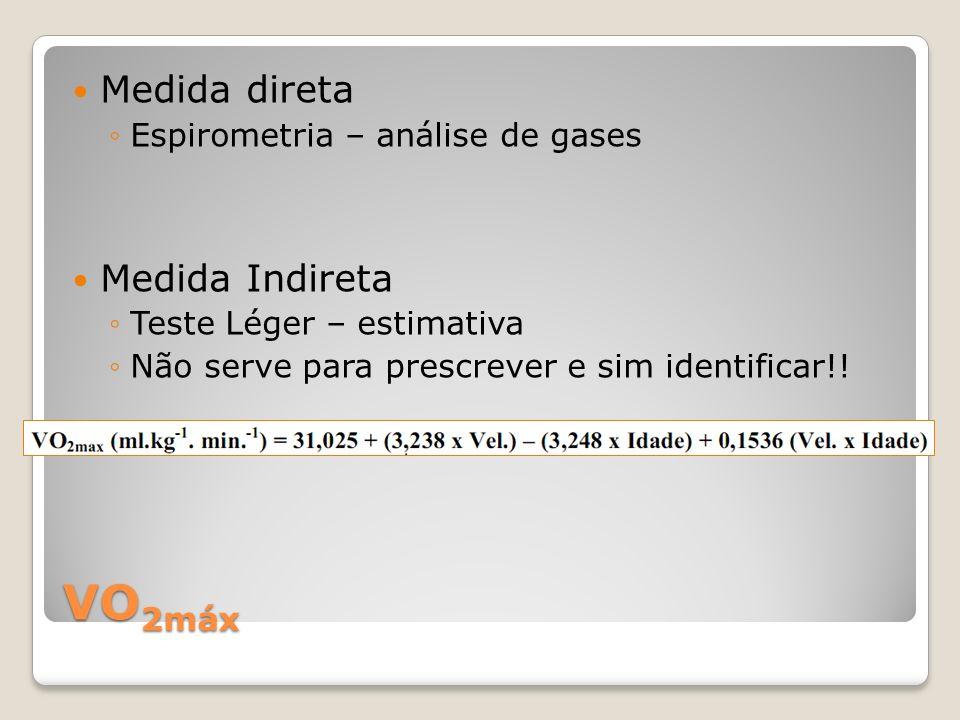 VO2máx Medida direta Medida Indireta Espirometria – análise de gases
