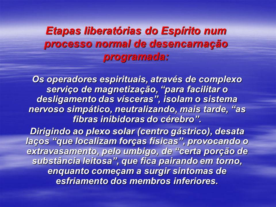 Etapas liberatórias do Espírito num processo normal de desencarnação programada: