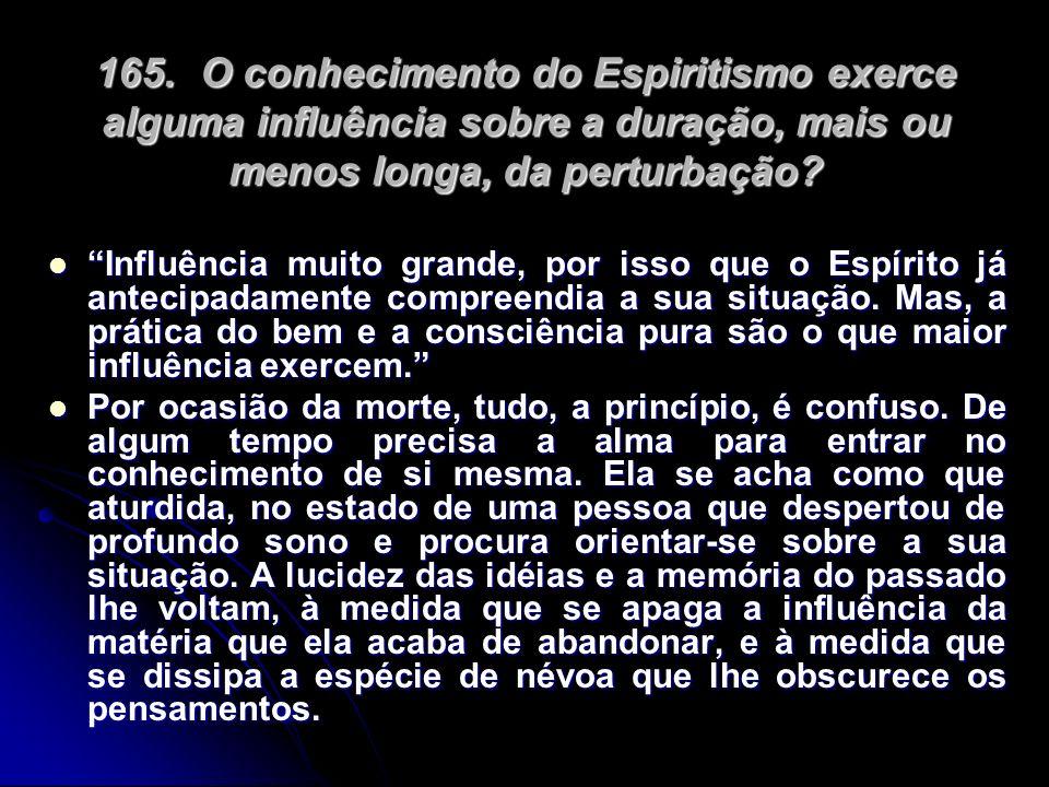 165. O conhecimento do Espiritismo exerce alguma influência sobre a duração, mais ou menos longa, da perturbação
