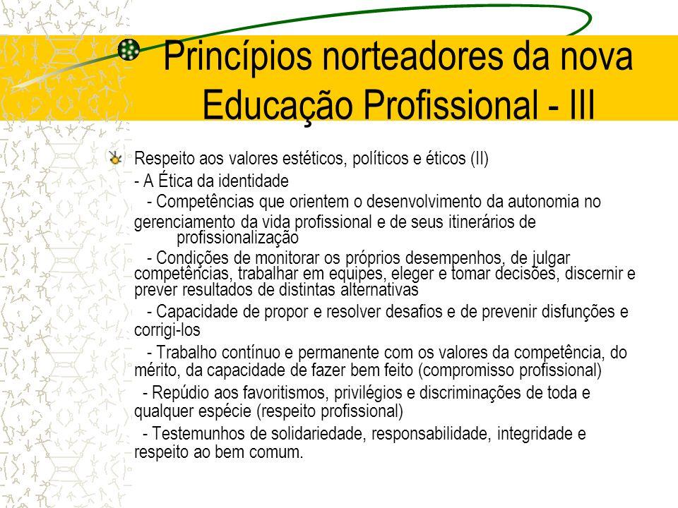 Princípios norteadores da nova Educação Profissional - III