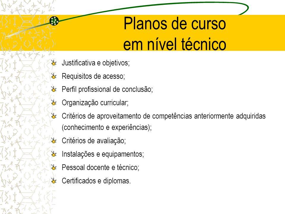 Planos de curso em nível técnico