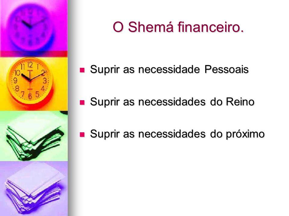 O Shemá financeiro. Suprir as necessidade Pessoais