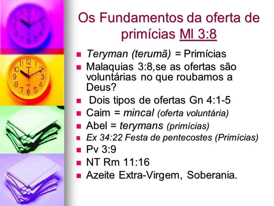 Os Fundamentos da oferta de primícias Ml 3:8