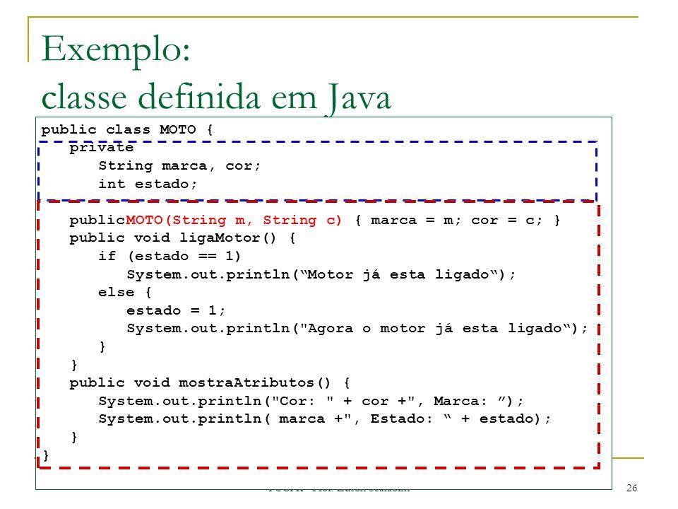 Exemplo: classe definida em Java