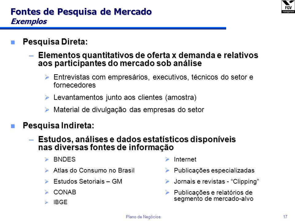 Fontes de Pesquisa de Mercado Exemplos