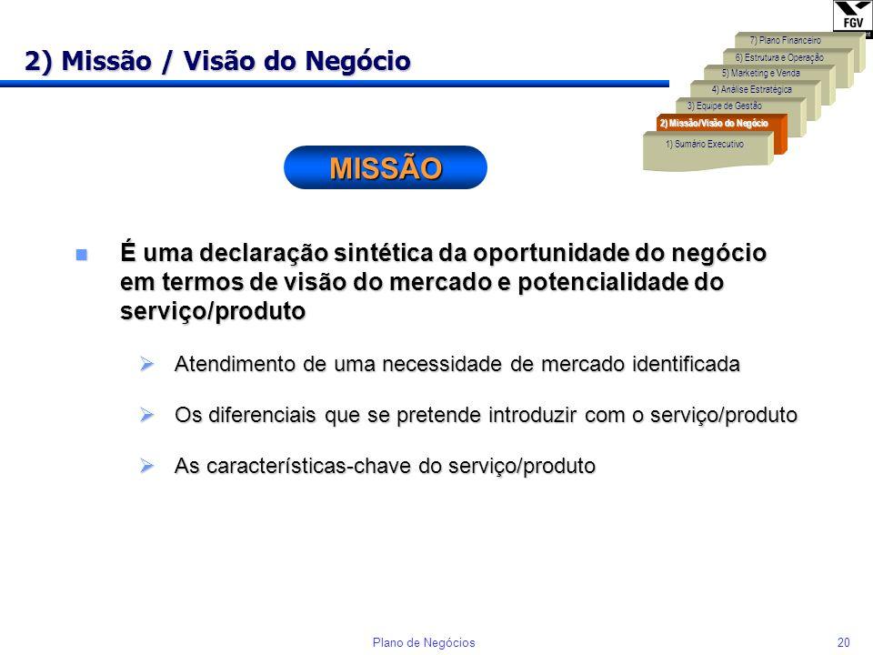 2) Missão / Visão do Negócio