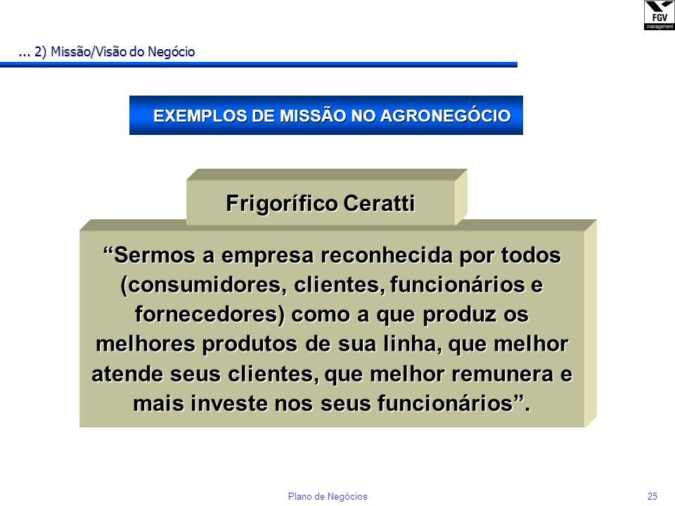 EXEMPLOS DE MISSÃO NO AGRONEGÓCIO