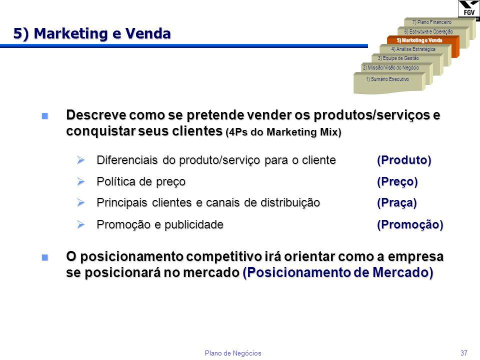 5) Marketing e Venda 7) Plano Financeiro. 6) Estrutura e Operação. 5) Marketing e Venda. 4) Análise Estratégica.