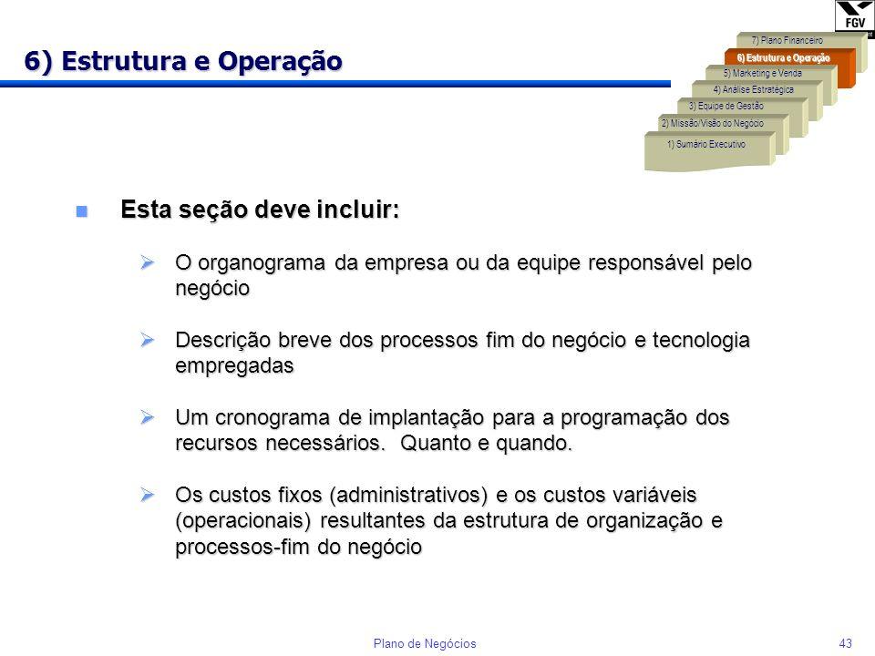 6) Estrutura e Operação Esta seção deve incluir: