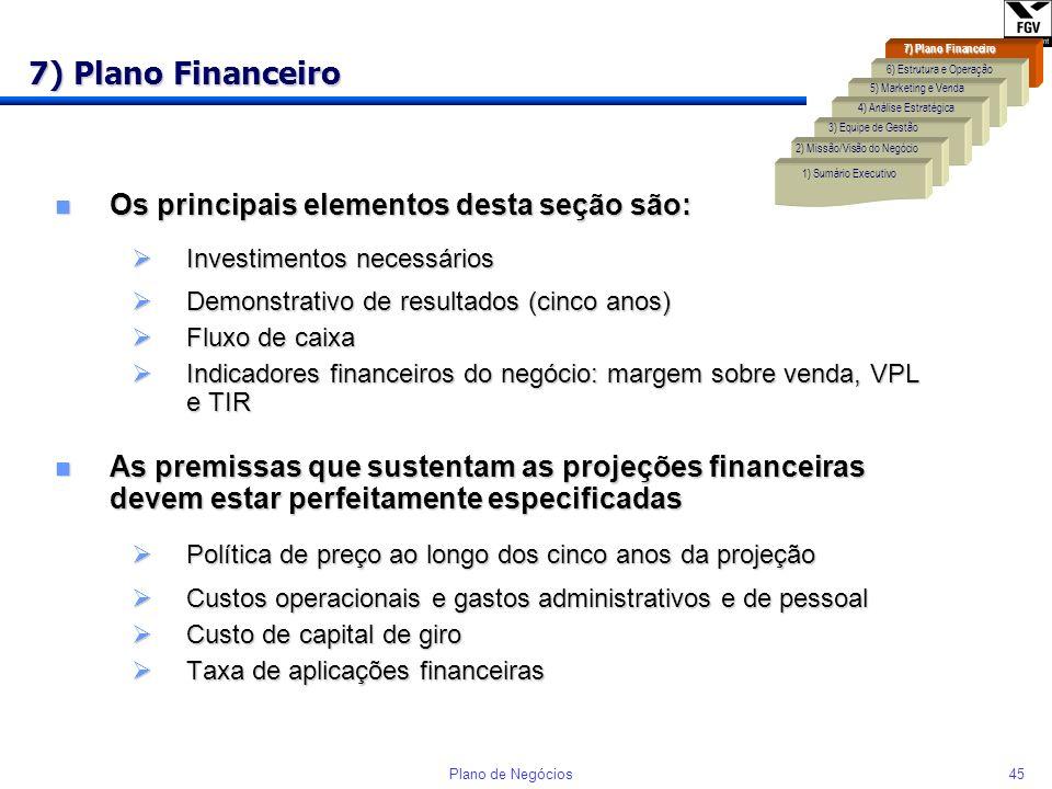 7) Plano Financeiro Os principais elementos desta seção são: