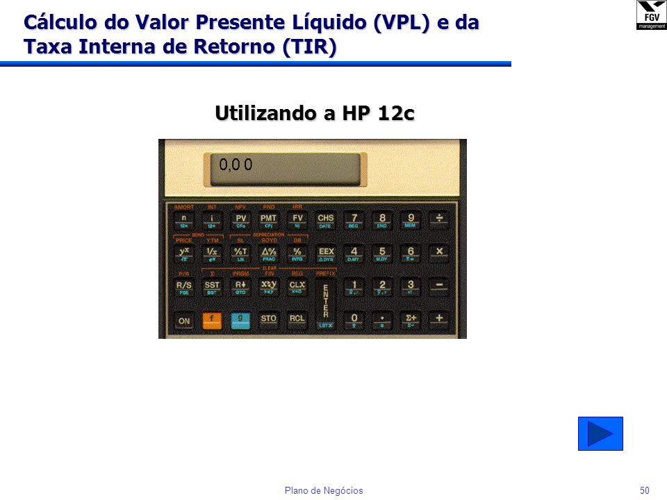 Cálculo do Valor Presente Líquido (VPL) e da Taxa Interna de Retorno (TIR)