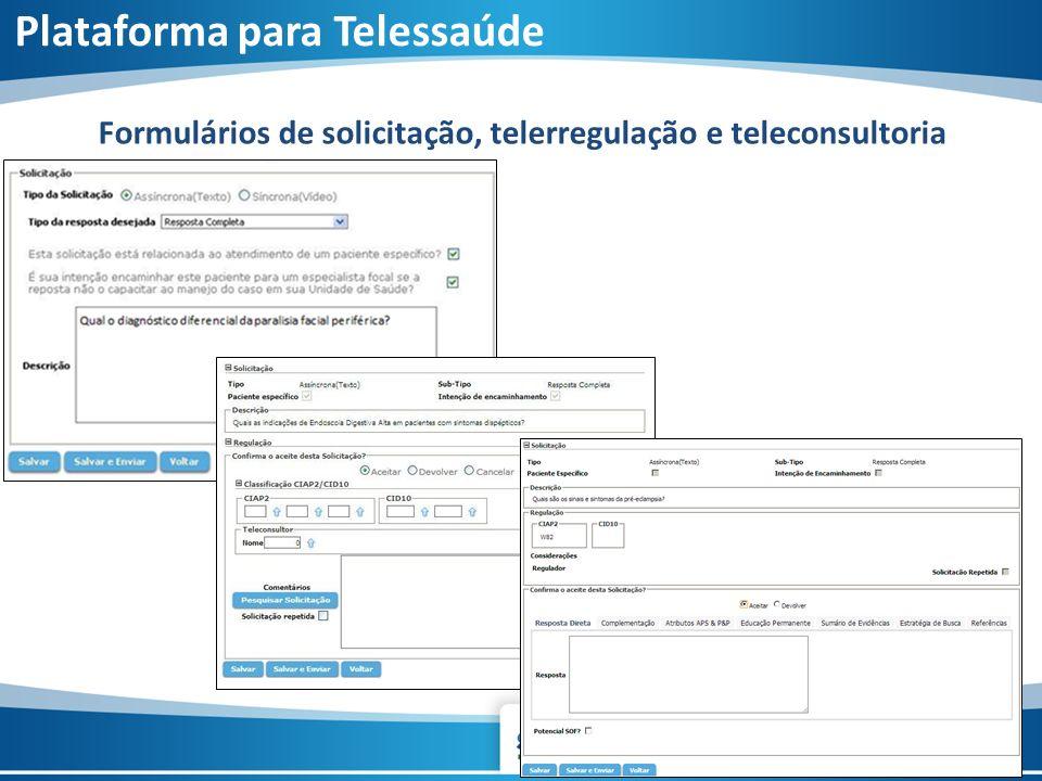 Formulários de solicitação, telerregulação e teleconsultoria