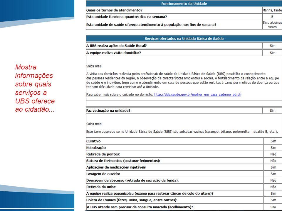 Mostra informações sobre quais serviços a UBS oferece ao cidadão...