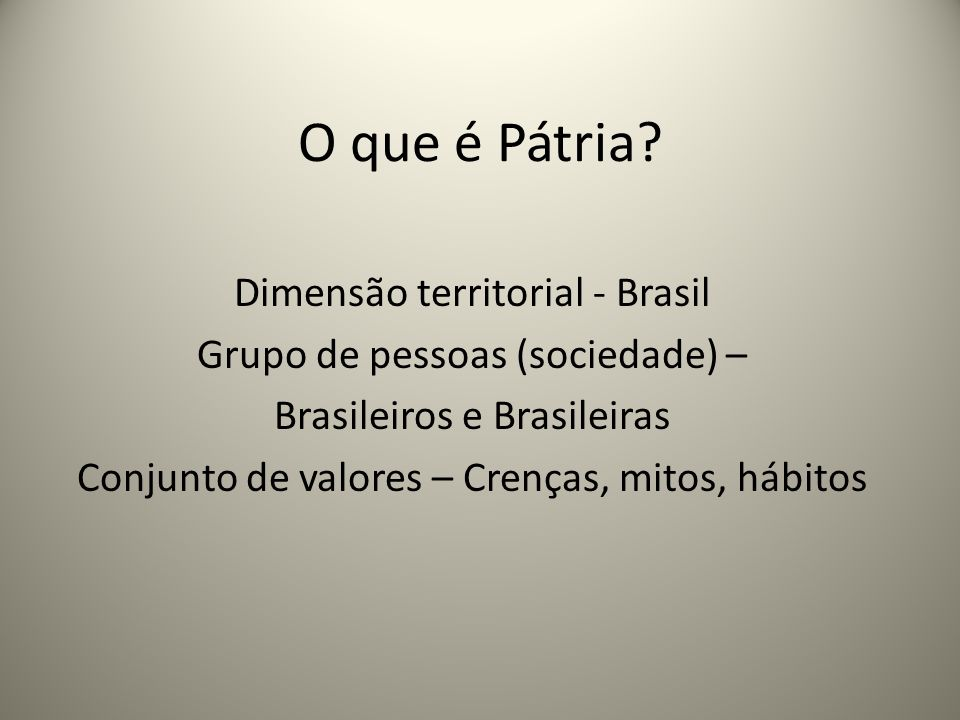 O que é Pátria Dimensão territorial - Brasil