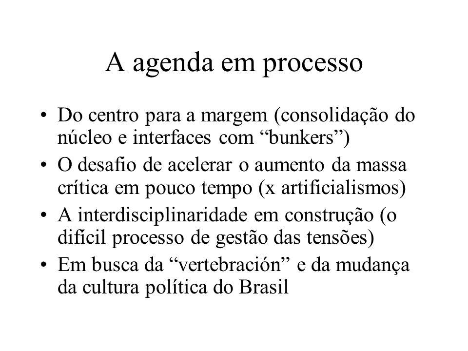 A agenda em processoDo centro para a margem (consolidação do núcleo e interfaces com bunkers )