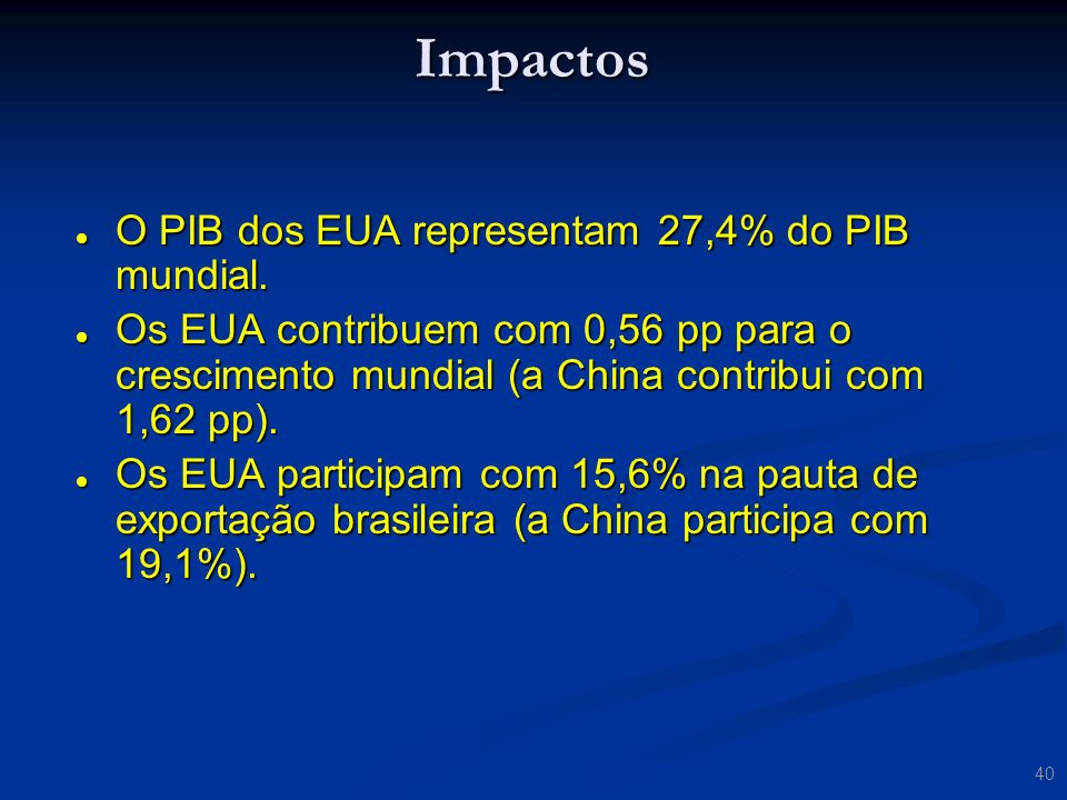 Impactos O PIB dos EUA representam 27,4% do PIB mundial.