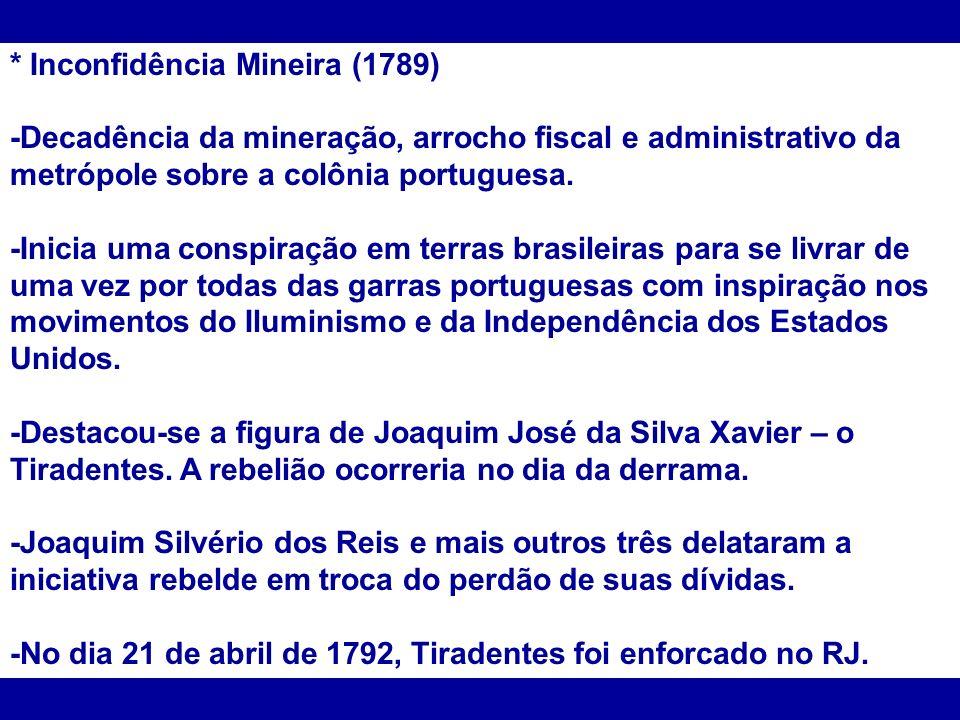 * Inconfidência Mineira (1789)