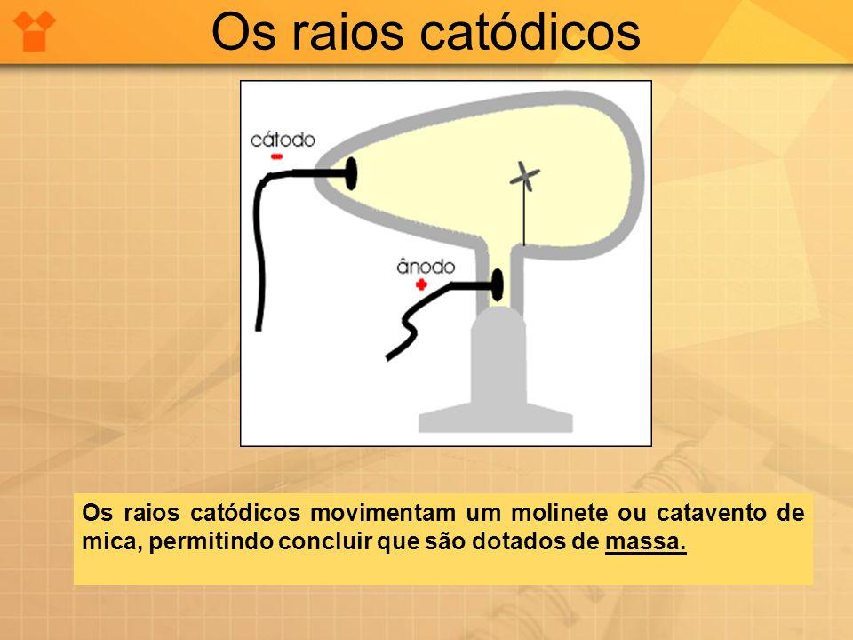 Os raios catódicos Os raios catódicos movimentam um molinete ou catavento de mica, permitindo concluir que são dotados de massa.