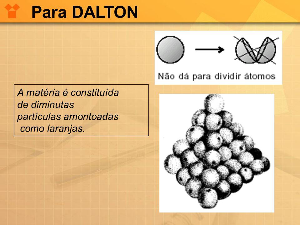 Para DALTON A matéria é constituída de diminutas partículas amontoadas
