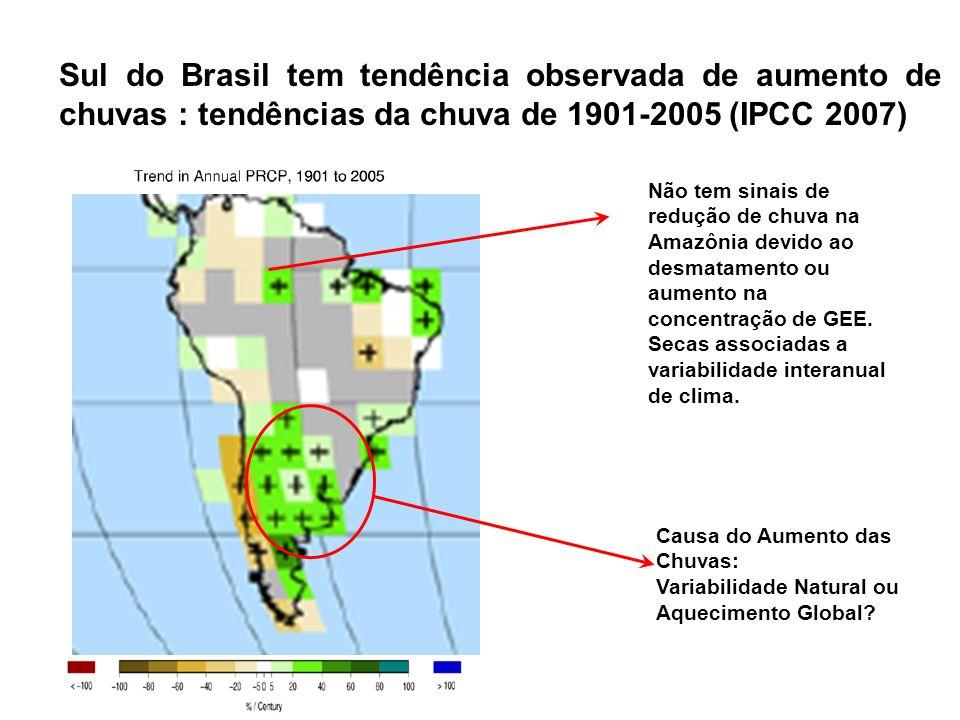 Sul do Brasil tem tendência observada de aumento de chuvas : tendências da chuva de 1901-2005 (IPCC 2007)