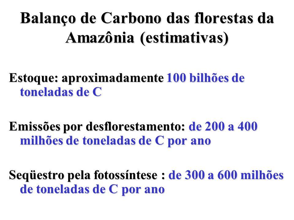 Balanço de Carbono das florestas da Amazônia (estimativas)