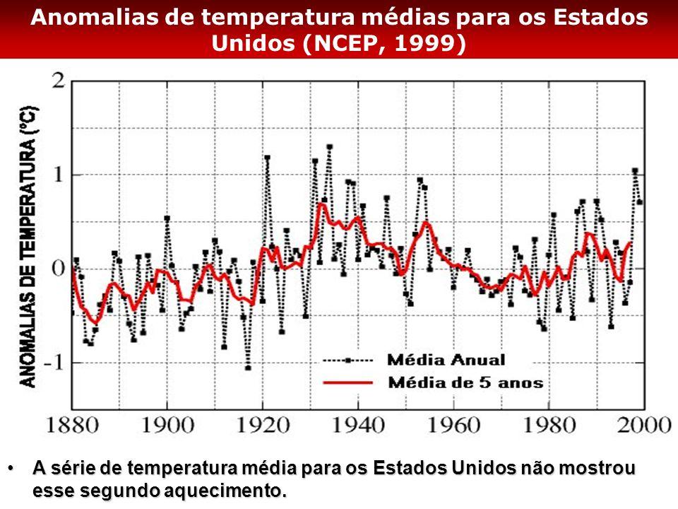 Anomalias de temperatura médias para os Estados Unidos (NCEP, 1999)