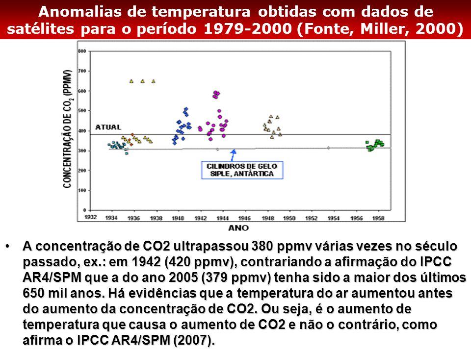 Anomalias de temperatura obtidas com dados de satélites para o período 1979-2000 (Fonte, Miller, 2000)