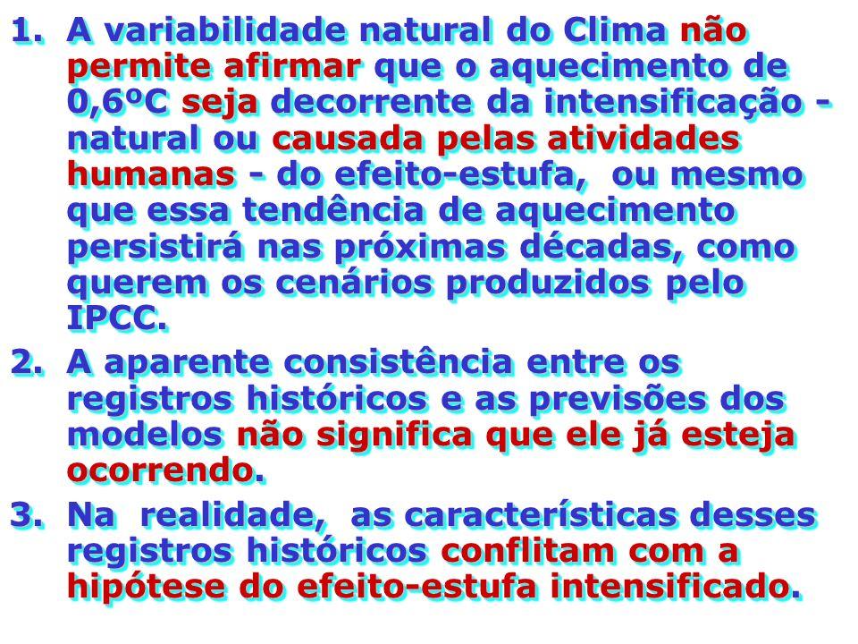 A variabilidade natural do Clima não permite afirmar que o aquecimento de 0,6ºC seja decorrente da intensificação - natural ou causada pelas atividades humanas - do efeito-estufa, ou mesmo que essa tendência de aquecimento persistirá nas próximas décadas, como querem os cenários produzidos pelo IPCC.