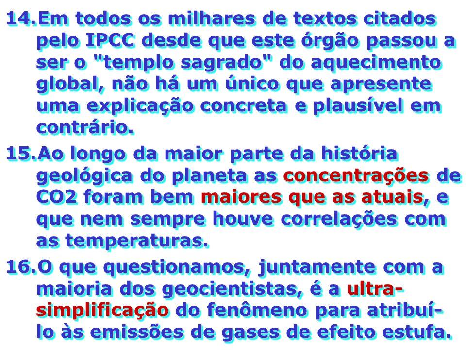 Em todos os milhares de textos citados pelo IPCC desde que este órgão passou a ser o templo sagrado do aquecimento global, não há um único que apresente uma explicação concreta e plausível em contrário.