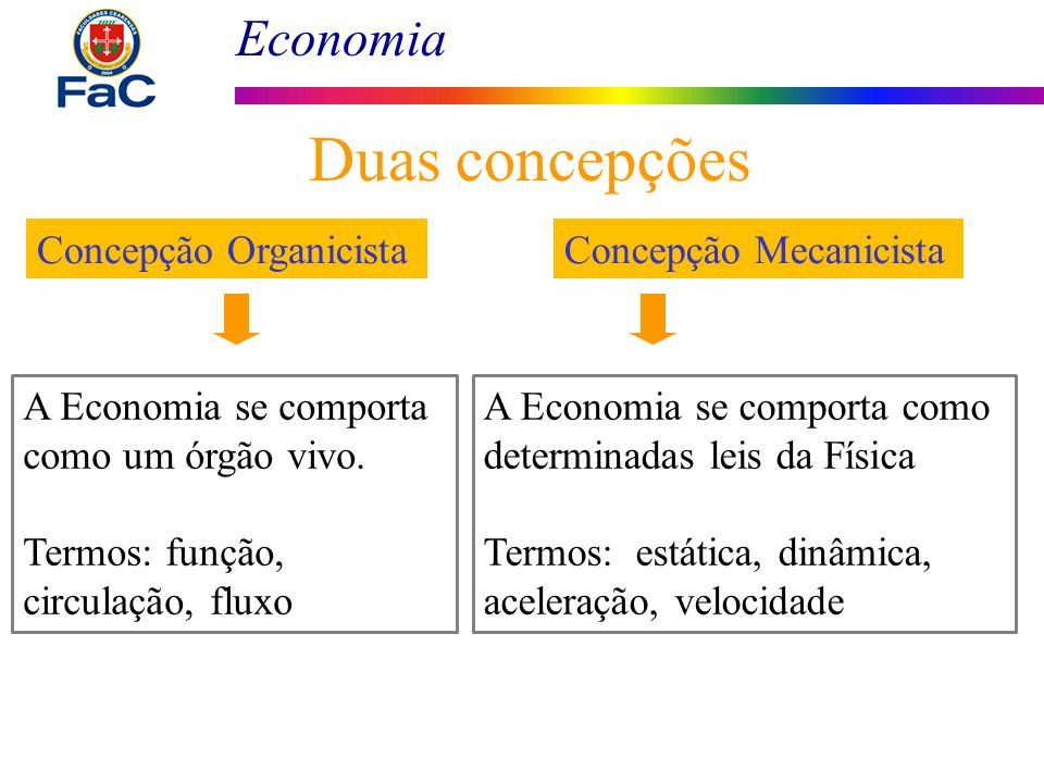 Duas concepções Concepção Organicista Concepção Mecanicista