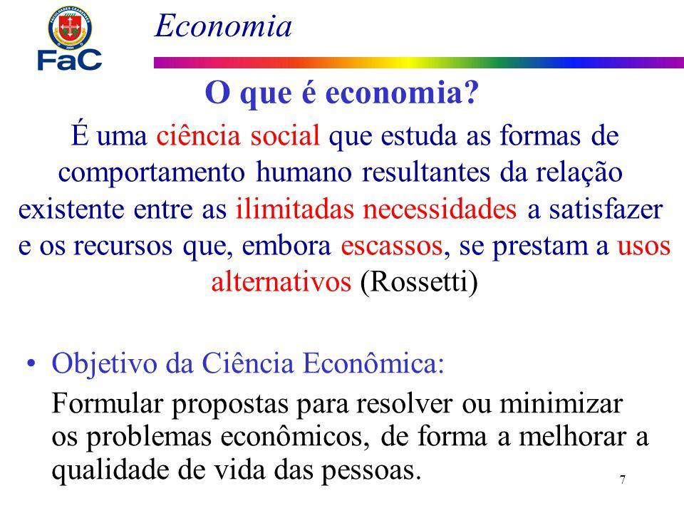 O que é economia É uma ciência social que estuda as formas de